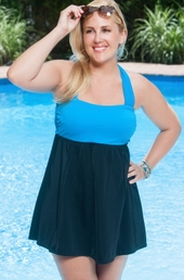 Plus Size Swimwear Always For Me In Control Wrap Bandeau Swimdress Style #IO18 - Black/Ocean $89