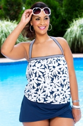 Women's Plus Size Swimwear Anne Cole Daisy Blouson Bandeau Tankini Top - NO RETURNS