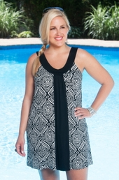 Women's Plus Size Cover Ups - Always For Me Cover Diamond Print Tunic