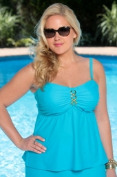 Always For Me Separates Status Link Plus Size Underwire Tankini Top #8209 - Turq $69
