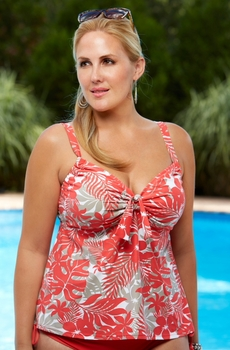 Plus Size Swimwear - Beach House Separates Newport Tropical Floral Tankini Top