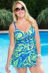 Women's Plus Size Swimwear - Always For Me Santa Cruz Swim Dress