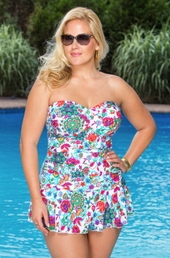 Women's Plus Size Swimwear Always For Me Chic Prints Elena Twist Bandeau Swimsuit
