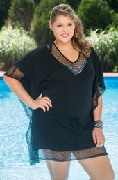 Women's Plus Size Cover Ups - Always For Me Cover Fish Net Jersey Cover #4115X