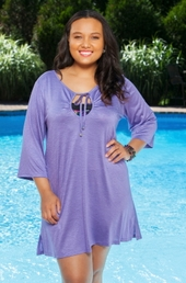 Plus Size Cover-Ups Always For Me Cover Long Sleeve Keyhole Tunic