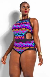 Plus Size Swimsuit Monif C Cabo Print Monokini