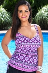 Women's Plus Size Swimwear - 24th & Ocean Separates Barcelona Side Shirred Underwire Tankini Top - NO RETURNS