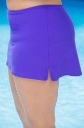 "Plus Size Swimwear AFM Separates 14"" Side Slits Skirt w/ Brief - Grape $39"