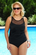 Plus Size Swimwear - Always 4 Me Newport Mesh One Piece #IO734 - Black