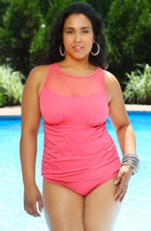 Plus Size Swimwear - Always 4 Me Newport Mesh One Piece #IO734 - Coral $69