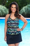 Women's Plus Size Swimwear - Always 4 Me Zebra Stripes 2 Pc Skirtini