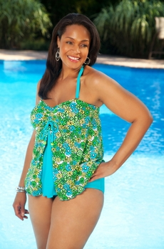 Women's Plus Size Swimwear - Always For Me Chic Prints - Baja 2 Pc Tankini
