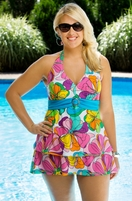 Women's Plus Size Swimwear - Always For Me Chic Prints Floreana 2 Pc Underwire Tankini