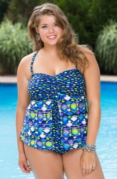 Plus Size Swimwear Always For Me Chic Prints La Cruz Inset 2 PcSwimsuit