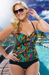 Women's Plus Size Swimwear - Always For Me Chic Prints Santiago Twist Strapless Swimsuit