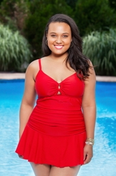 Women's Plus Size Swimwear - Always For Me Chic Solids Illusion Suit Style #67165W - RED $89 - ON SALE $79