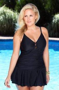 Women's Plus Size Swimwear -  Always For Me Chic Solids Illusion Swimsuit