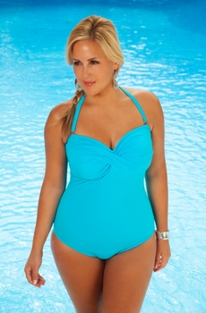 Always For Me Chic Solids - Twist  Bandeau Plus Size Swimsuit