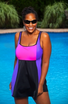Women's Plus Size Swimwear - Always For Me In Control Colorblock Swimdress