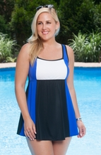 Plus Size Swimwear Always For Me In Control Colorblock Swimdress