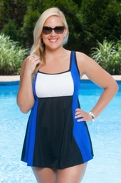 Plus Size Swimwear Always For Me In Control Colorblock Swimdress Style #IO97 - Royal/White $89