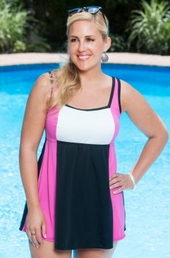 Plus Size Swimwear Always For Me In Control Colorblock Swimdress Style #IO97 - Fuchsia/White $89