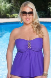 Always For Me Separates Status Link Plus Size Underwire Tankini Top #8209 - Grape $55.20