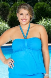 Plus Size Swimwear Beach House Separates Fly Away Tankini Top #85081 - Cobalt $30