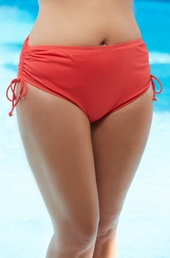 Plus Size Swimwear - Beach House Separates High Waist Side Tie Brief #42013  - ON SALE $36.75 Coral