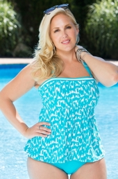 Plus Size Swimwear Beach House Separates Ocean Breeze Bandeau Tankini Top
