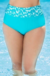 Plus Size Swimwear Beach House Separates Ocean Breeze High Waist Brief