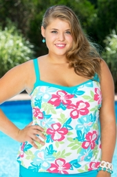 Women's Plus Size Swimwear - Beach House Summerton Floral Underwire Tankini Top