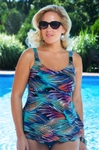Women's Plus Size Swimwear - Christina Separates Aurora Borealis Underwire Tankini Top