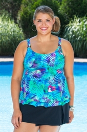 Plus Size Swimwear Christina Tropical Journey Underwire Tankini Top ONLY