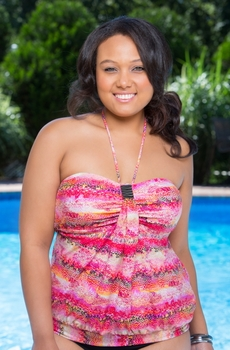 Plus Size Swimwear - Christina Separates Instant Attraction Bandeau Blouson Top