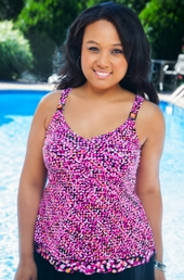 Plus Size Swimwear - Christina Separates Playing Softly Underwire Tankini Top