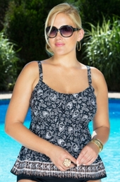 Plus Size Swimwear Coco Reef Separates Sahara Tankini Top #4928 - Black $43.50