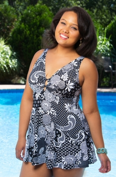 Women's Plus Size Swimwear - Fit 4U Glam Slam V Neck Swim Dress