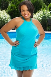 Women's Plus Size Swimwear - Fit 4U Hi Neck Mesh Inset Ruffled Skirtini