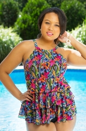 Plus Size Swimwear - Fit 4U Separates Brush Stroke Mesh Hi Neck Tiered Top