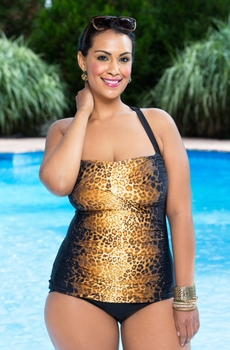 Women's Plus Size Swimwear - It Figures Hello Kitten Shirred Swimsuit #9113W