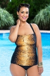Women's Plus Size Swimwear - It Figures Hello Kitten Shirred Swimsuit #9113