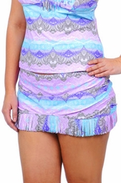 Plus Size Swimwear - Jessica Simpson Goa Fringe Skirted Bottom #GO149900 - Lavender Multi - NO RETURNS - ON SALE $36