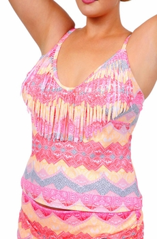 Plus Size Swimwear - Jessica Simpson Separates Goa Fringe Tankini Top - NO RETURNS