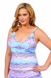 Plus Size Swimwear - Jessica Simpson Separates Goa Fringe Tankini Top #GO149401 - Lavender Multi - NO RETURNS - ON SALE $41
