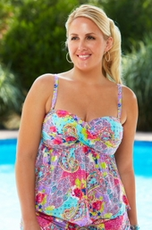 Plus Size Swimwear - Kenneth Cole Reaction Separates Modern Gypsy Faux Twist Tankini Top #41H62 - NO RETURNS