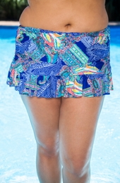Plus Size Swimwear Kenneth Cole Separates Paisley Intuition Rouched Skirt