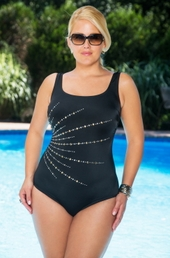 Plus Size Swimwear Longitude Fan Tank Swimsuit