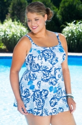 Plus Size Swimwear Longitude Royal Scroll Princess Seam Swimdress