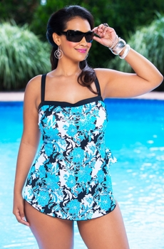 Women's Plus Size Swimwear - Maxine Fine Romance Bandeau Sarong 1 Pc Swimsuit